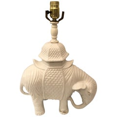 Blanc de Chine White Ceramic Elephant Table Lamp