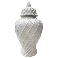 Blanc de Chine White Ginger Jar with Chippendale Lattice Design, Italy, 1990s