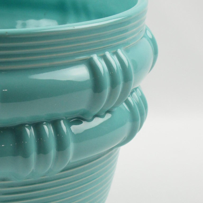 Mid-Century Modern Blanche Letalle for Saint Clement Turquoise Ceramic Vase Planter For Sale