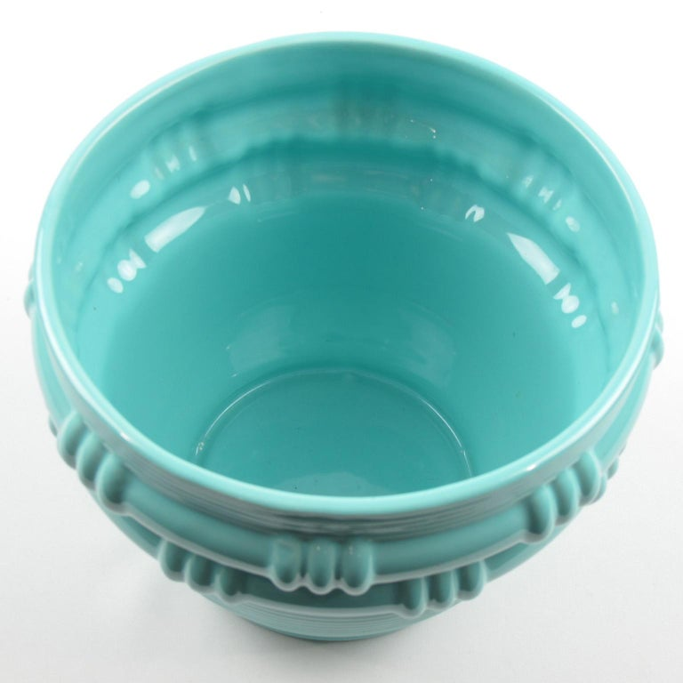 Blanche Letalle for Saint Clement Turquoise Ceramic Vase Planter In Excellent Condition For Sale In Atlanta, GA
