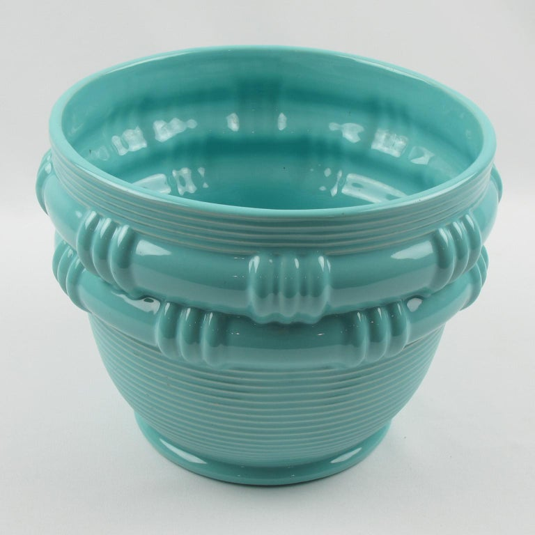 Mid-20th Century Blanche Letalle for Saint Clement Turquoise Ceramic Vase Planter For Sale