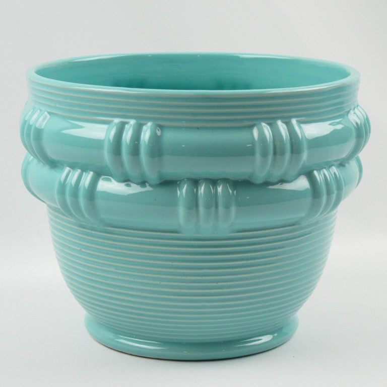 Blanche Letalle for Saint Clement Turquoise Ceramic Vase Planter For Sale 1