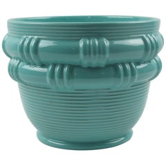 Blanche Letalle for Saint Clement Turquoise Ceramic Vase Planter