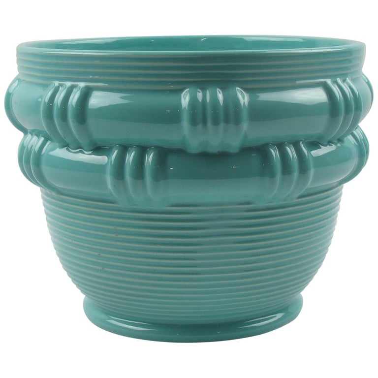 Blanche Letalle for Saint Clement Turquoise Ceramic Vase Planter For Sale