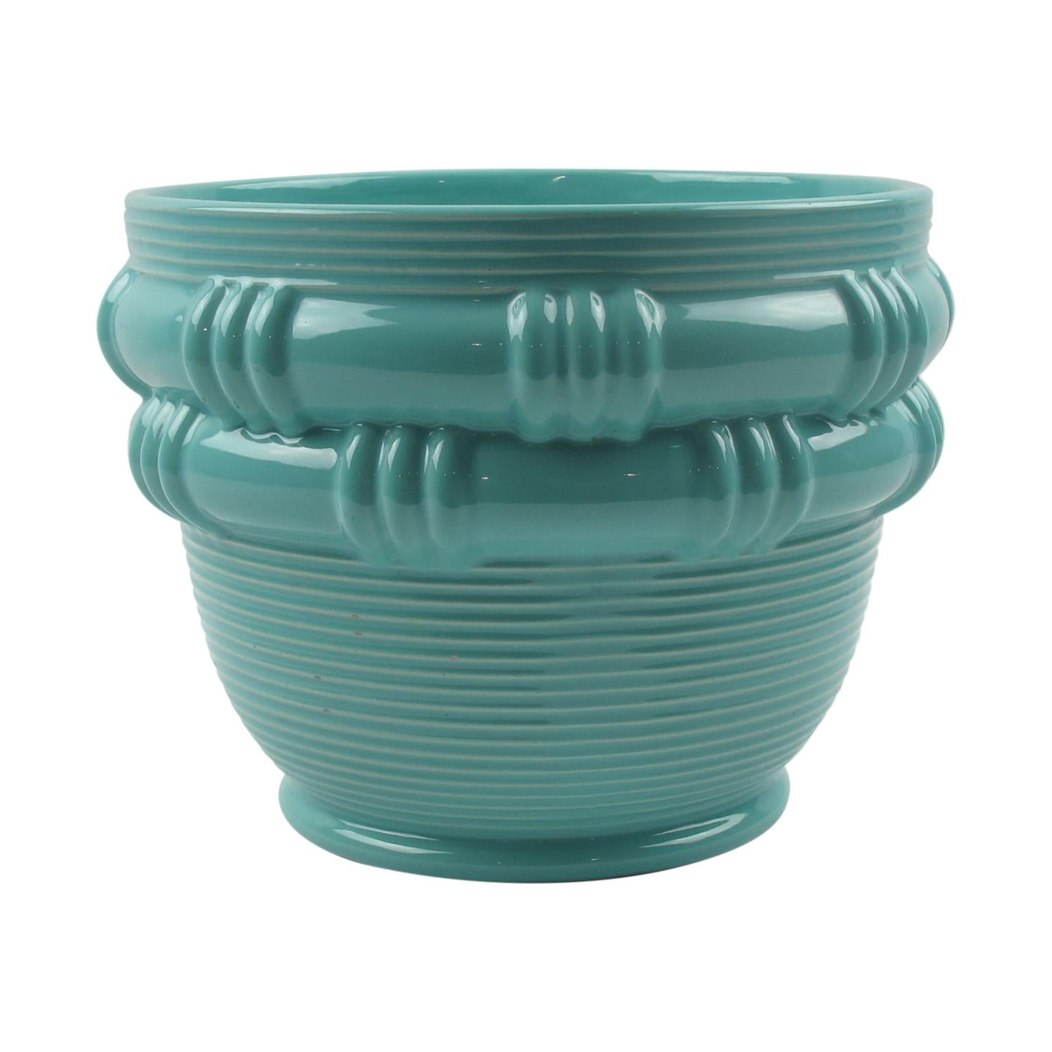Blanche Letalle for Saint Clement Turquoise Ceramic Vase Planter