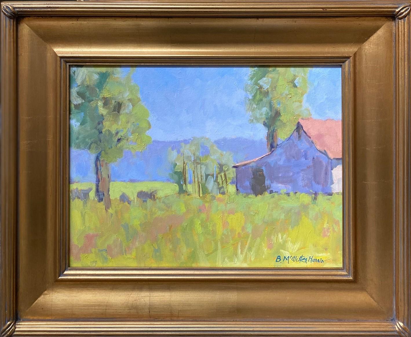 Summer Pasture, original contemporary expressionist landscape oil painting