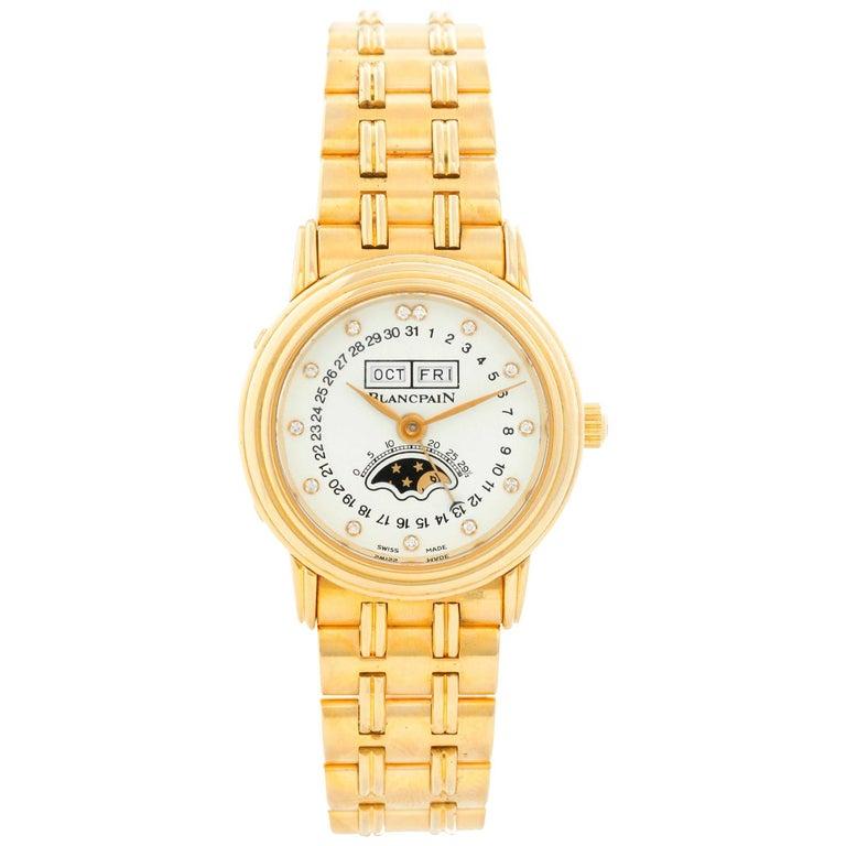 Blancpain 18 Karat Yellow Gold Villeret Moonphase Ladies Watch For Sale