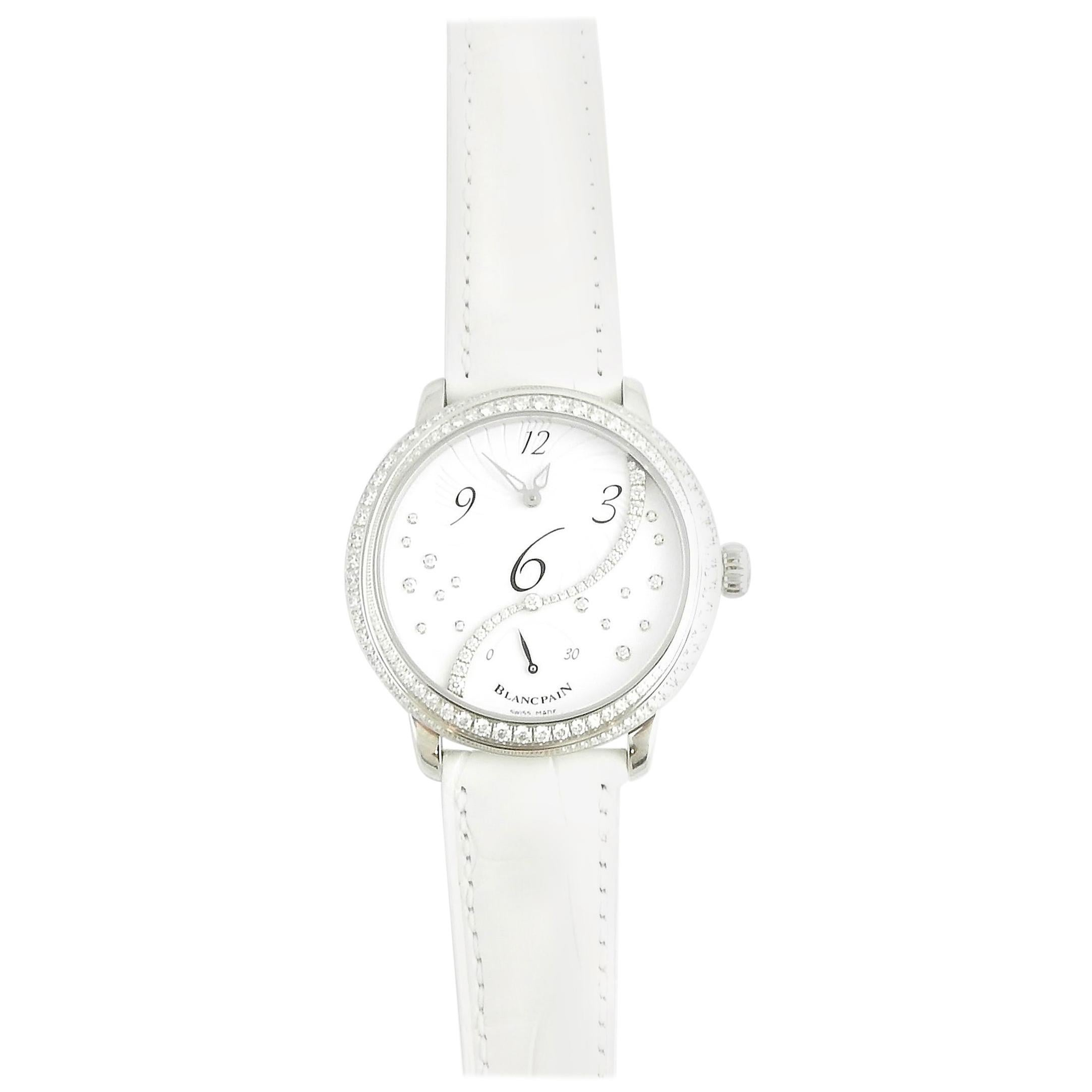 Blancpain Heure Decentree Diamond Stainless Ladies Watch White Dial Automatic