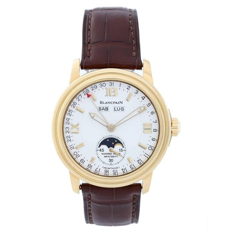 Blancpain Yellow Gold Leman Calendar Moonphase Automatic Wristwatch
