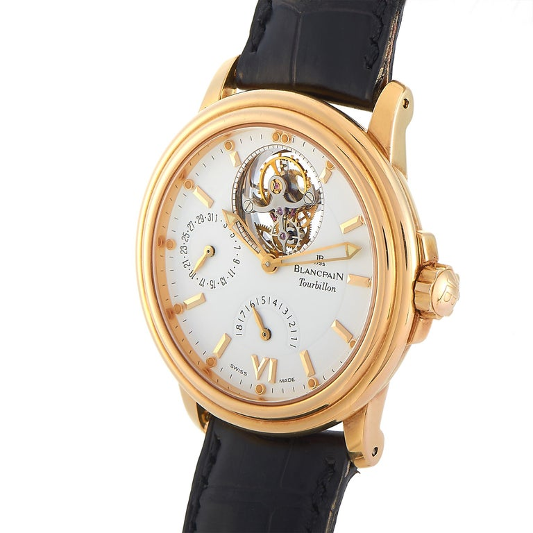 The Blancpain Léman Tourbillon Watch is a stylish timepiece that exudes obvious luxury. Fine materials and exceptional extras make this a functional, all-purpose accessory with upscale appeal.   This watch features a 38mm case crafted from 18K