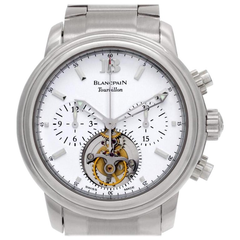 Blancpain Leman Tourbillon 18 Karat White Gold Automatic Watch For Sale