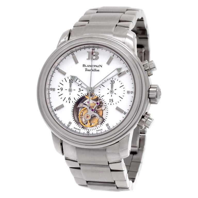 Blancpain Leman Tourbillon Chronograph in 18k white gold. Automatic movement under glass with chronograph, sub-seconds and tourbillon. 38 mm case size. Fine Pre-owned Blancpain Watch. Certified preowned Sport Blancpain Leman Tourbillon watch is made
