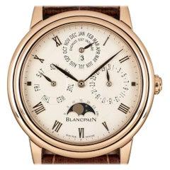 Blancpain Leman Villeret Perpetual Calendar Gents 18 Karat Gold Silver Dial B&P