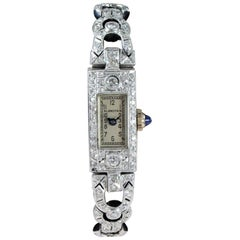 Blancpain Platinum Watch and 18 Karat Diamond Bracelet, circa 1930s-1940s
