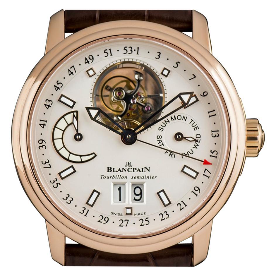 Blancpain Rose Gold Silver Dial Leman Tourbillon Semainier Grande Date Watch