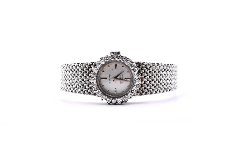 Round Cut Blancpain Vintage 14 Karat White Gold & Diamond Ladies Watch with 18k Bracelet For Sale