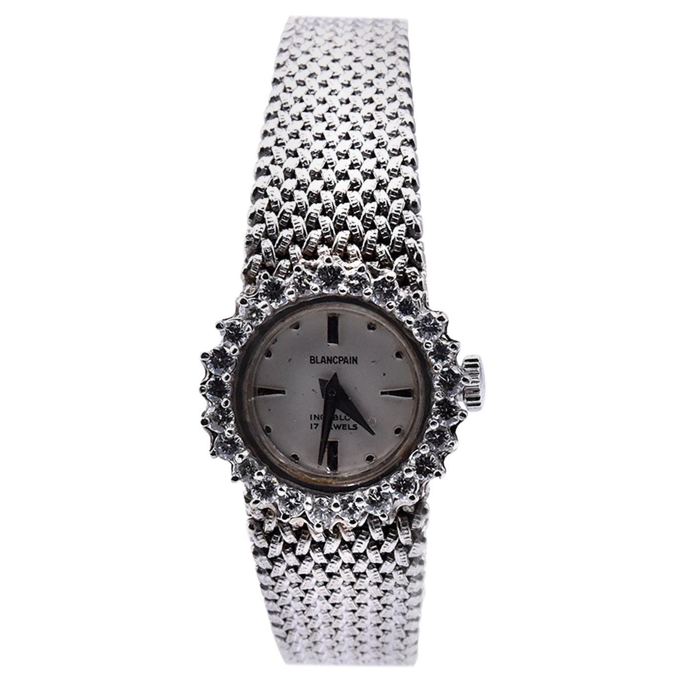 Blancpain Vintage 14 Karat White Gold & Diamond Ladies Watch with 18k Bracelet