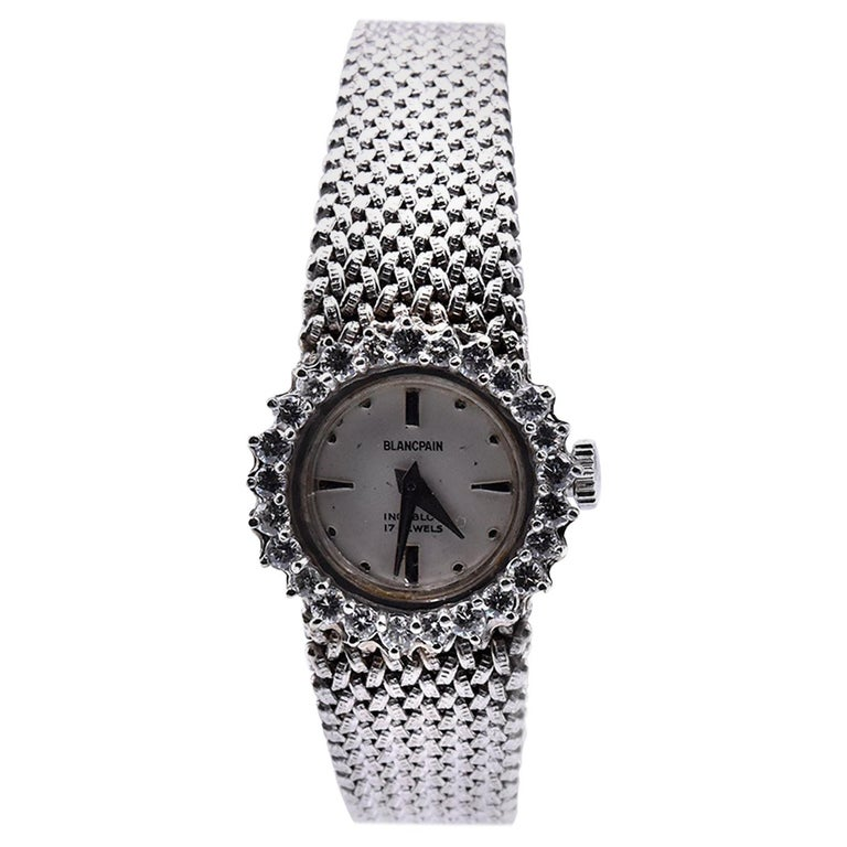 Blancpain Vintage 14 Karat White Gold & Diamond Ladies Watch with 18k Bracelet For Sale