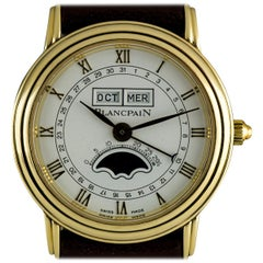 Blancpain Yellow Gold White Roman Dial Leman Triple Date Moonphase Watch
