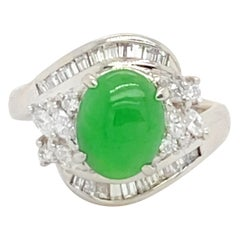 Blank Certified Fine Jade Ring with Diamonds