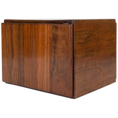 Cube Side Table or Storage Chest in Rare African Shedua Wood by Gerald McCabe