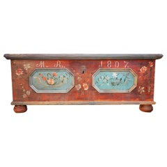 Blanket Chest, Red Floreal Painted, Italy, 1807