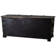 Blanket Chest Swedish Baroque 18th Century Swedish Black, Sweden