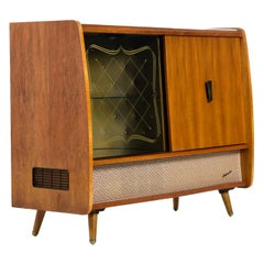Blaupunkt Arkansas 59 Tube Stereo Record Player Console with Bar Cabinet