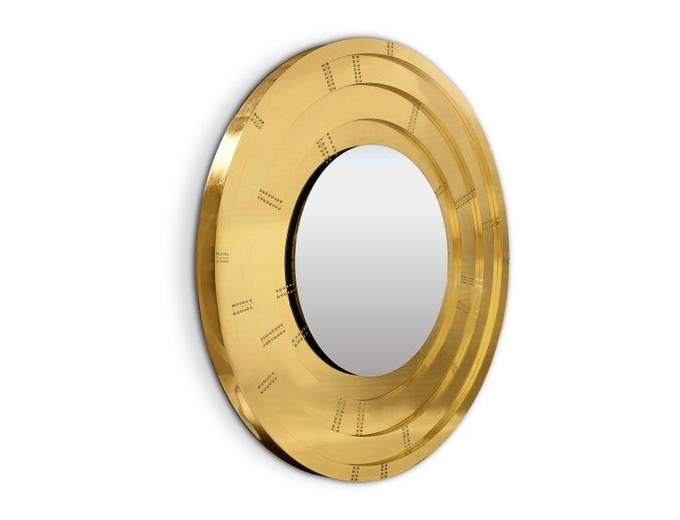 Modern Blaze Mirror in Brass For Sale
