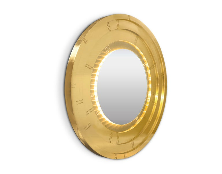 Portuguese Blaze Mirror in Brass For Sale