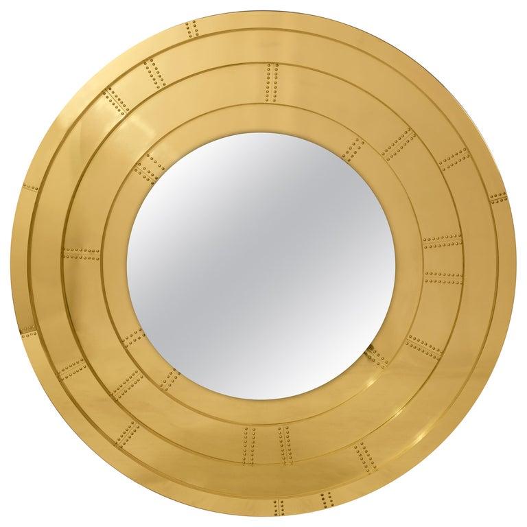 Blaze Mirror in Brass For Sale