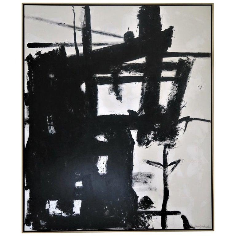 """Blazing Fire"" Black & White Original Painting by Karina Gentinetta For Sale"
