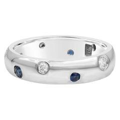 Blue Sapphire and Diamond Etoile Ring