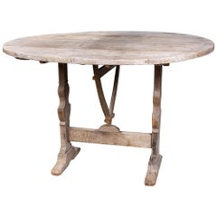 "Bleached Antique French ""Vendage"" Wine Harvest Table"