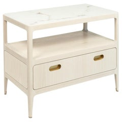 Bleached Ash Nightstand with Brass Details by Munson Furniture