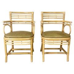 Bleached Bamboo Armchair, a Pair