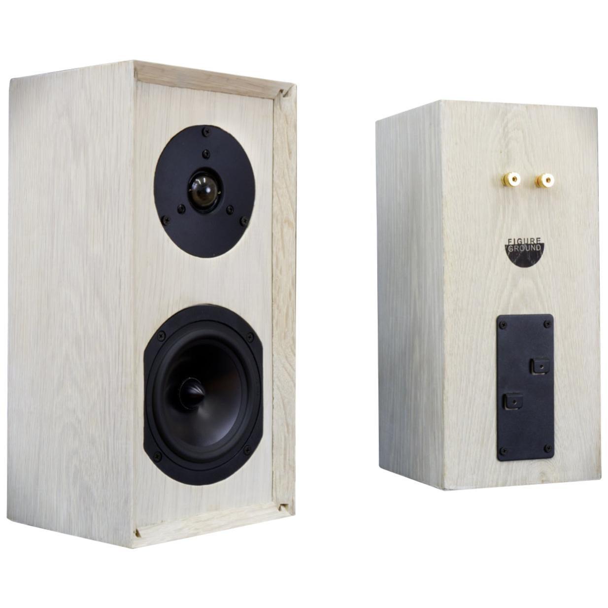 Bleached Handmade Oak Speaker Set with Custom Cross Overs