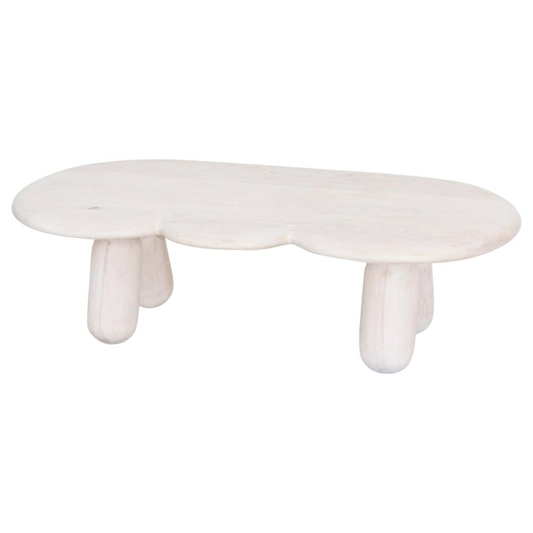 Bleached Hard Maple Organic Coffee Table by Jackrabbit Studio For Sale