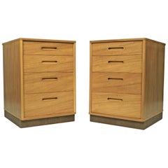 Bleached Mahogany Nightstands with Leather Bases by Edward Wormley for Dunbar