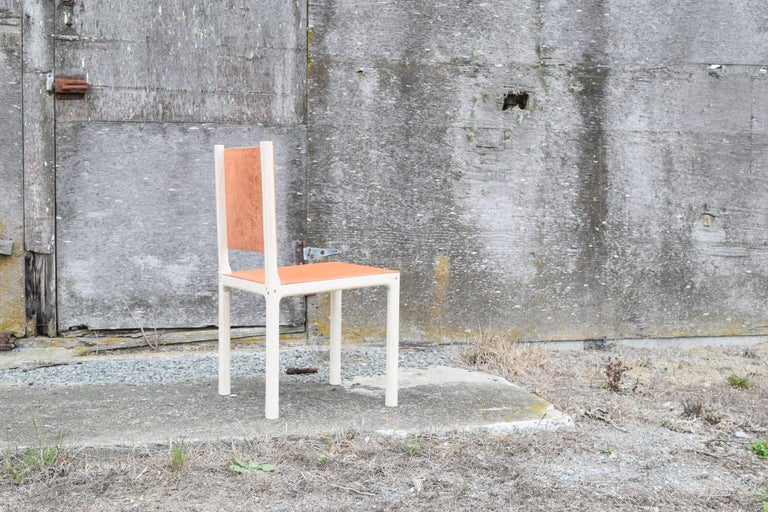 Bleached Maple and Leather Modern Dining Chair In New Condition For Sale In Mendocino, CA