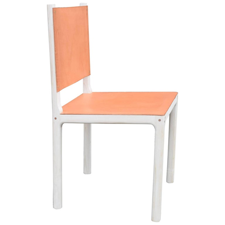 Bleached Maple and Leather Modern Dining Chair For Sale