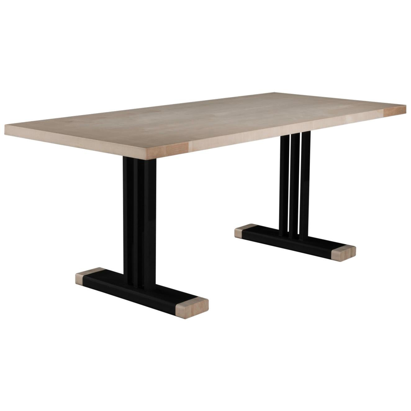 Maple Dining Table with Black Steel & Maple Legs 'Trumbull Dining Table'