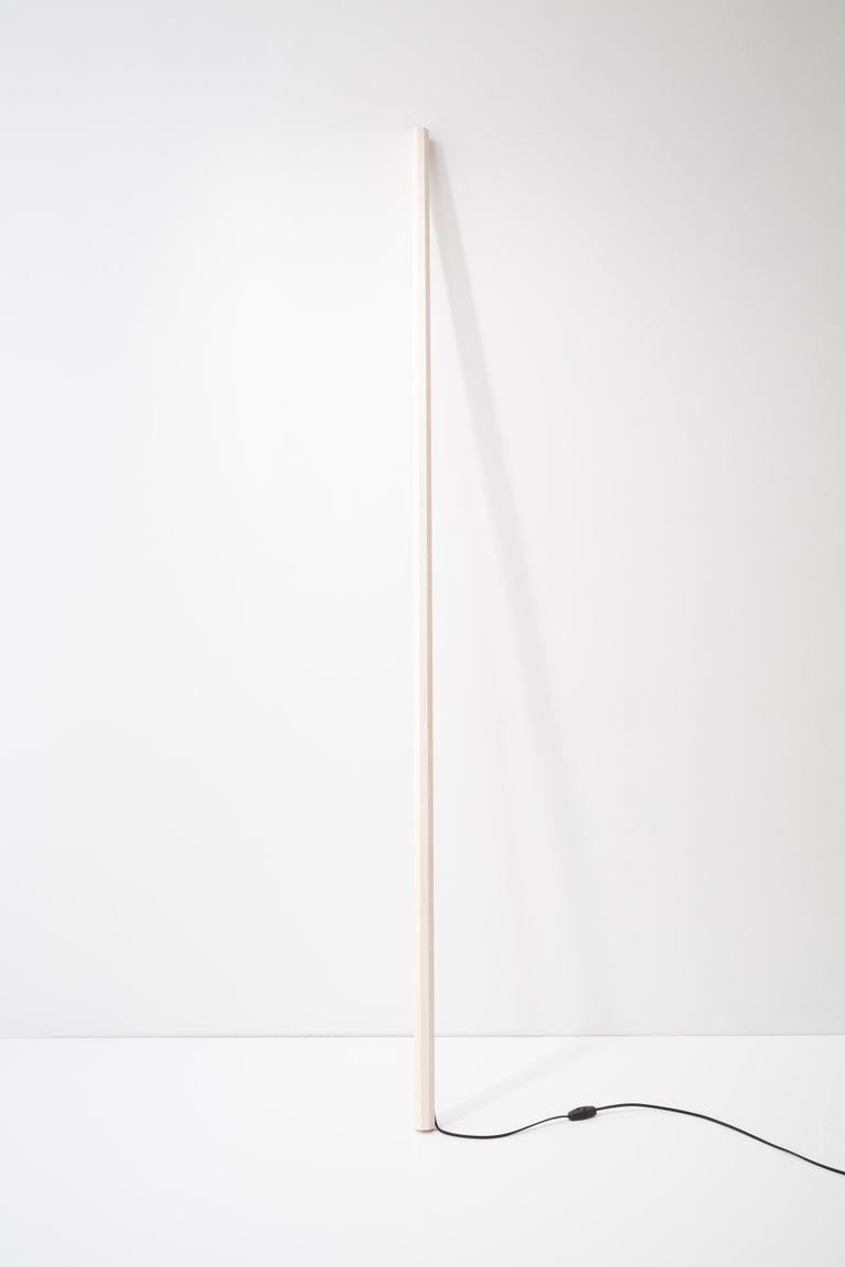 Minimalist Bleached Maple LED Line Light Sculpture For Sale