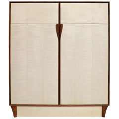 Bleached Maple Wood Cabinet, Dining Hutch or High Boy, Walnut Framing