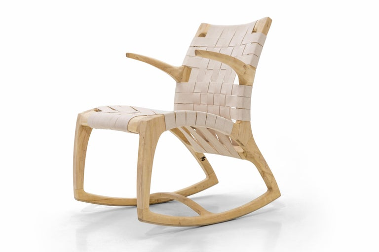 Mid-Century Modern Bleached Maple Wood Luna Rocking Chair with Webbed Seat by Goebel For Sale