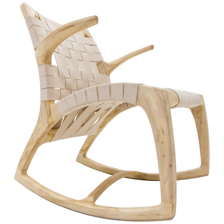 Bleached Maple Wood Luna Rocking Chair with Webbed Seat by Goebel For Sale