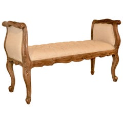 Bleached Oak French Bench, circa 1920