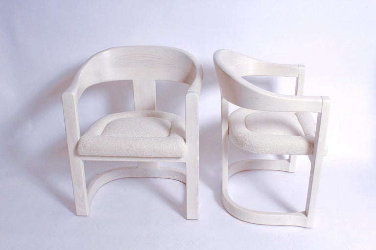 Mid-Century Modern Pair of Signed Springer Bleached Oak Onassis Chairs, 1983 - Two Pairs Available For Sale