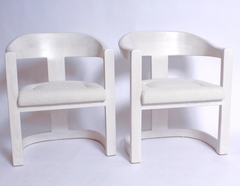 American Pair of Signed Springer Bleached Oak Onassis Chairs, 1983 - Two Pairs Available For Sale