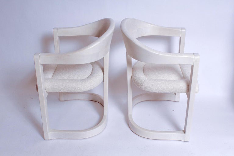 Pair of Signed Springer Bleached Oak Onassis Chairs, 1983 - Two Pairs Available In Excellent Condition For Sale In North Miami, FL